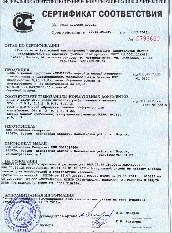 Сертификат соответствия на продукцию СемерикЪ